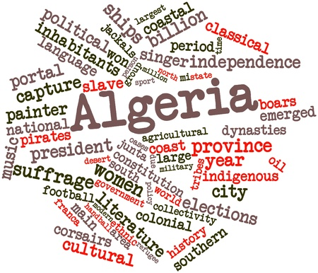 hominid: Abstract word cloud for Algeria with related tags and terms Stock Photo