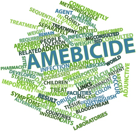 consulted: Abstract word cloud for Amebicide with related tags and terms Stock Photo