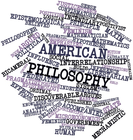 epistemology: Abstract word cloud for American philosophy with related tags and terms Stock Photo