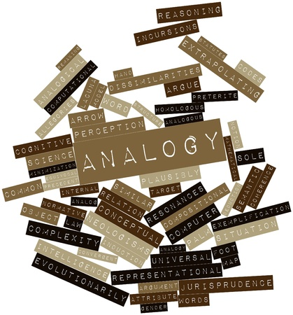 Abstract word cloud for Analogy with related tags and terms Stock Photo