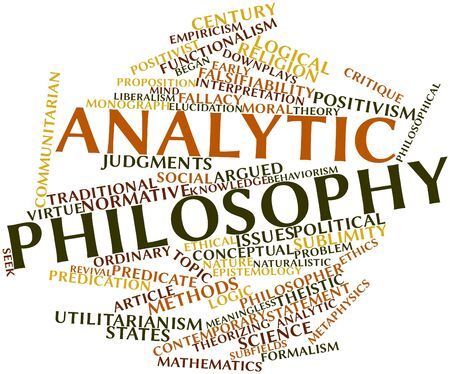 virtue: Abstract word cloud for Analytic philosophy with related tags and terms Stock Photo