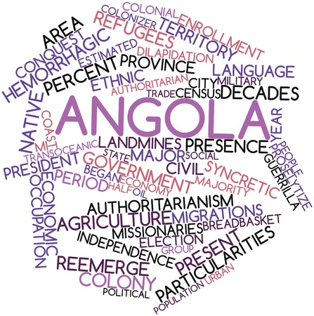 resettlement: Abstract word cloud for Angola with related tags and terms