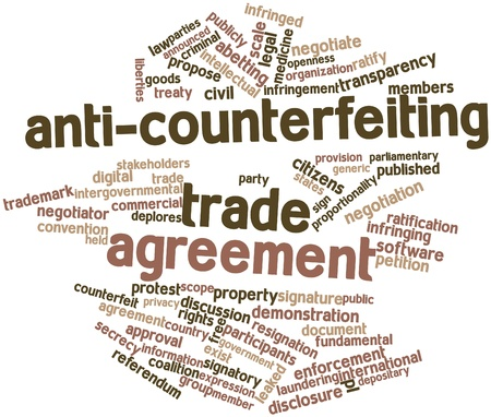 announced: Abstract word cloud for Anti-Counterfeiting Trade Agreement with related tags and terms