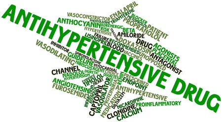 demotion: Abstract word cloud for Antihypertensive drug with related tags and terms Stock Photo