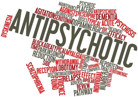 esquizofrenia: Nube palabra abstracta para antipsicótico con etiquetas y términos relacionados