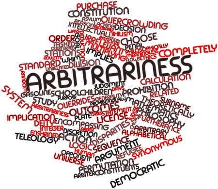 implies: Abstract word cloud for Arbitrariness with related tags and terms Stock Photo