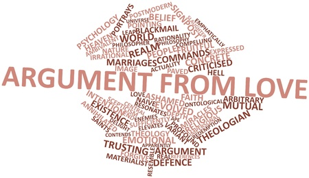 criticised: Abstract word cloud for Argument from love with related tags and terms