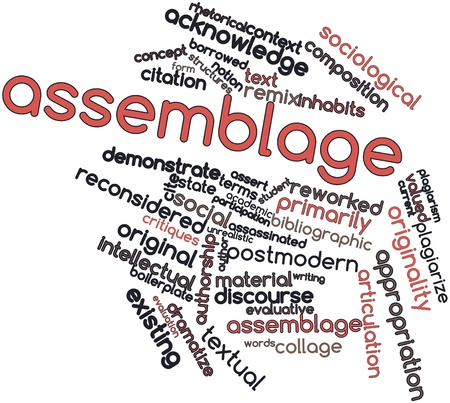 conforms: Abstract word cloud for Assemblage with related tags and terms Stock Photo