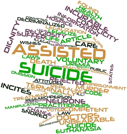circumstances: Abstract word cloud for Assisted suicide with related tags and terms Stock Photo