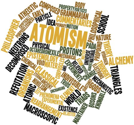exile: Abstract word cloud for Atomism with related tags and terms Stock Photo