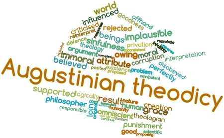 imply: Abstract word cloud for Augustinian theodicy with related tags and terms Stock Photo