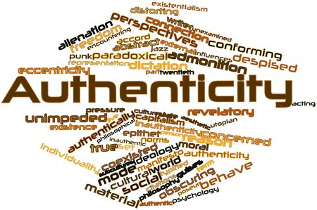 utopian: Abstract word cloud for Authenticity with related tags and terms Stock Photo