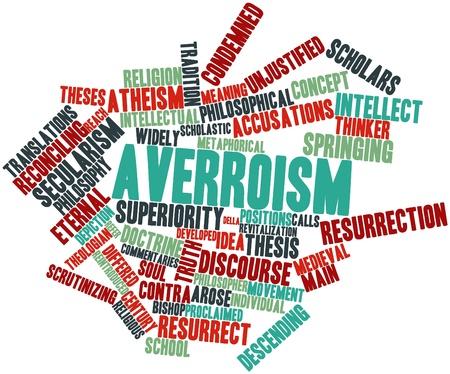 historians: Word cloud astratto per averroismo con tag correlati e termini