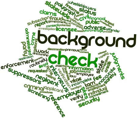 Abstract word cloud for Background check with related tags and terms