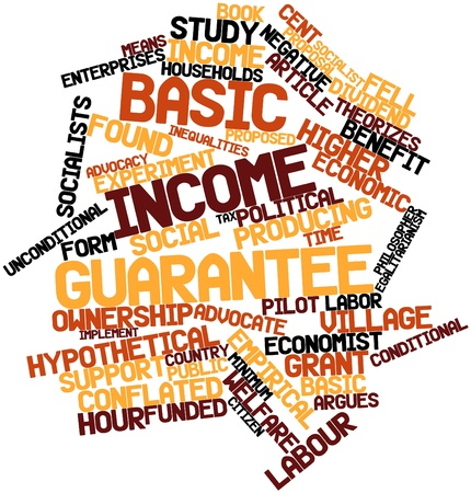 frontiers: Abstract word cloud for Basic income guarantee with related tags and terms Stock Photo