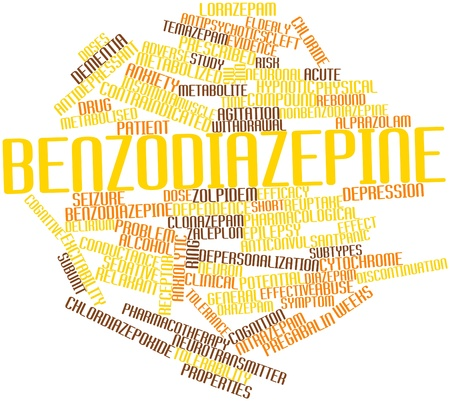 delirium: Abstract word cloud for Benzodiazepine with related tags and terms Stock Photo