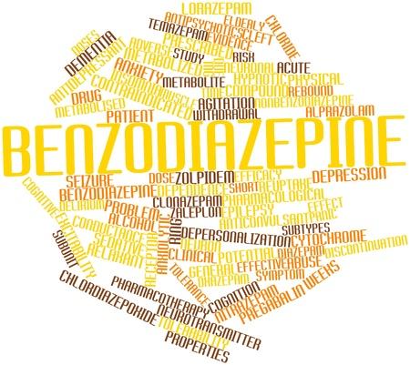 Abstraktes Wort-Wolke für Benzodiazepine mit verwandten Tags und Begriffe Lizenzfreie Bilder