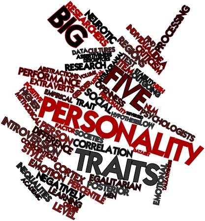 personalidad: Nube palabra abstracta por cinco grandes rasgos de la personalidad con las etiquetas y términos relacionados