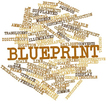 Abstract word cloud for Blueprint with related tags and terms photo