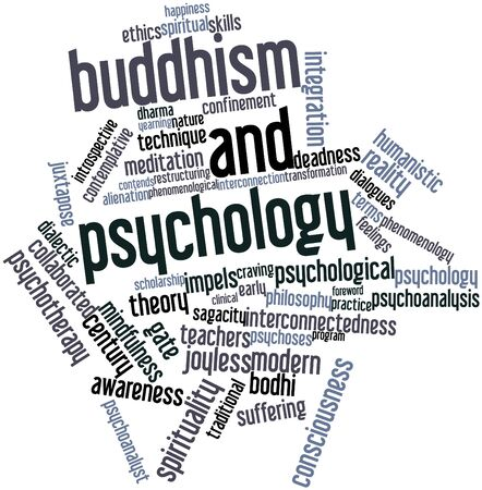 humanistic: Abstract word cloud for Buddhism and psychology with related tags and terms