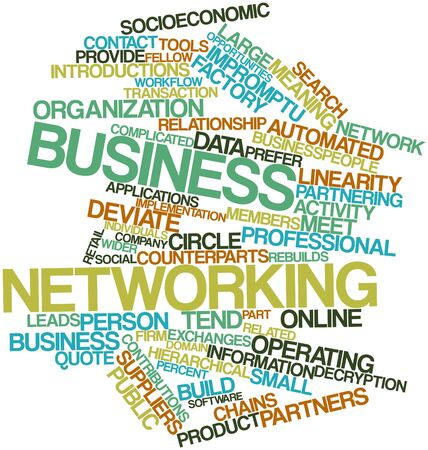 Abstract word cloud for Business networking with related tags and terms
