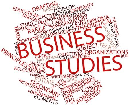 Abstract woordwolk voor Business studies met gerelateerde tags en voorwaarden