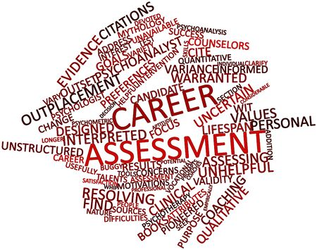 intervention: Abstract word cloud for Career assessment with related tags and terms Stock Photo