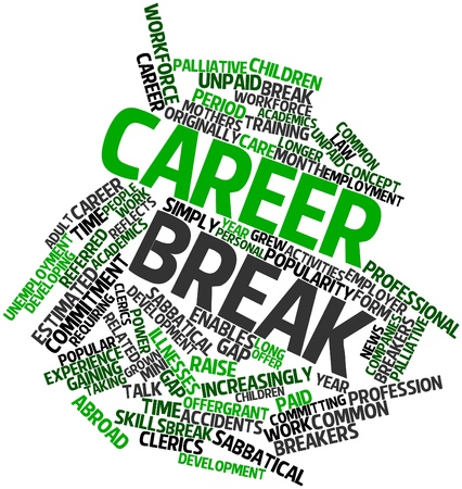 Abstract word cloud for Career break with related tags and terms photo
