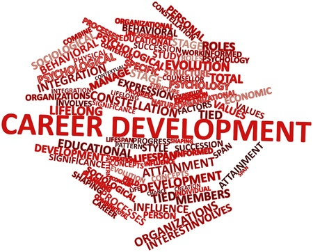 Abstract word cloud for Career development with related tags and terms photo