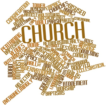 derivation: Abstract word cloud for Church with related tags and terms