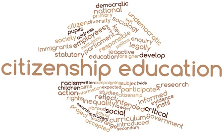 citizenship: Abstract word cloud for Citizenship education with related tags and terms Stock Photo
