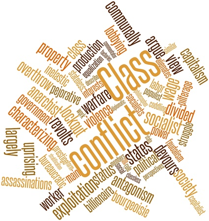 Abstract word cloud for Class conflict with related tags and terms Stock Photo