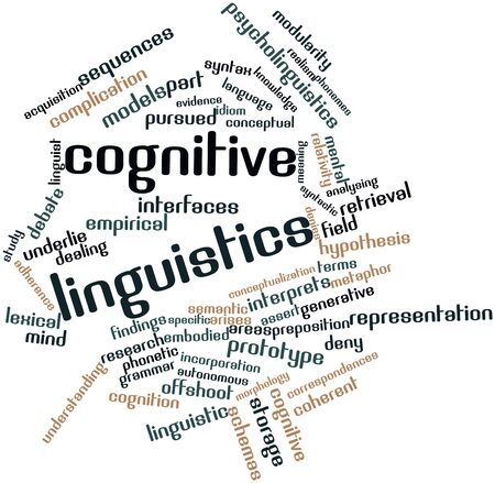 understands: Abstract word cloud for Cognitive linguistics with related tags and terms Stock Photo