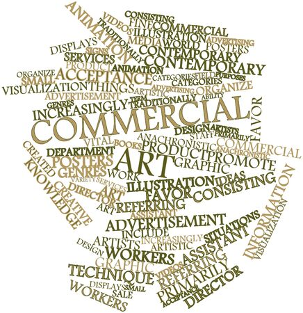 anachronistic: Abstract word cloud for Commercial art with related tags and terms