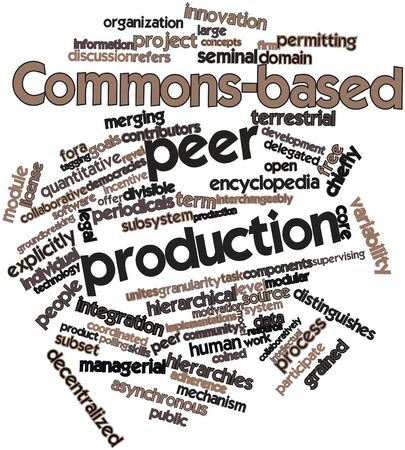 peer: Abstract word cloud for Commons-based peer production with related tags and terms
