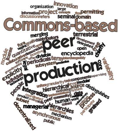 peer to peer: Nube palabra abstracta para la producci�n entre iguales basada en comunes con las etiquetas y t�rminos relacionados
