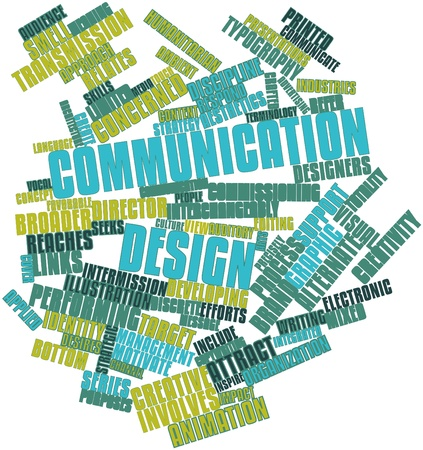 integrated: Abstract word cloud for Communication design with related tags and terms