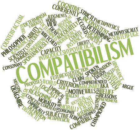 originate: Abstract word cloud for Compatibilism with related tags and terms Stock Photo