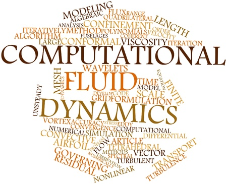 Abstract word cloud for Computational fluid dynamics with related tags and terms