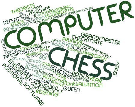 arbitrario: Nube palabra abstracta para el ajedrez por ordenador con las etiquetas y términos relacionados
