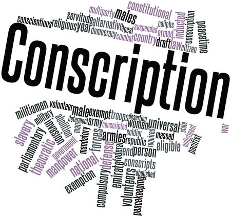 conscripts: Abstract word cloud for Conscription with related tags and terms Stock Photo