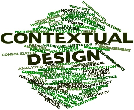 latent: Abstract word cloud for Contextual design with related tags and terms Stock Photo