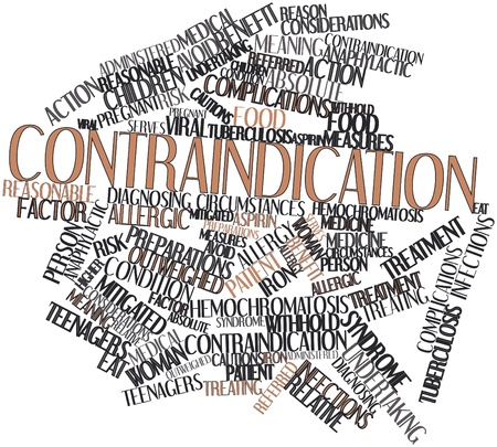 cautions: Abstract word cloud for Contraindication with related tags and terms Stock Photo