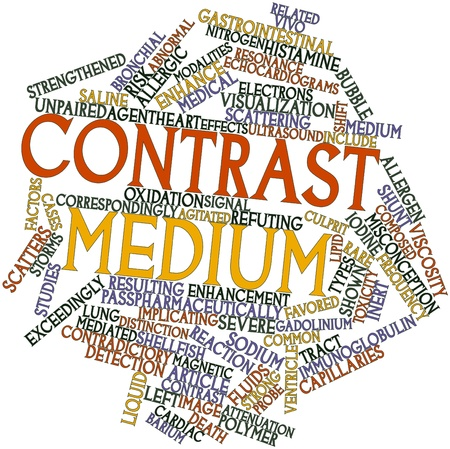 Abstract word cloud for Contrast medium with related tags and terms