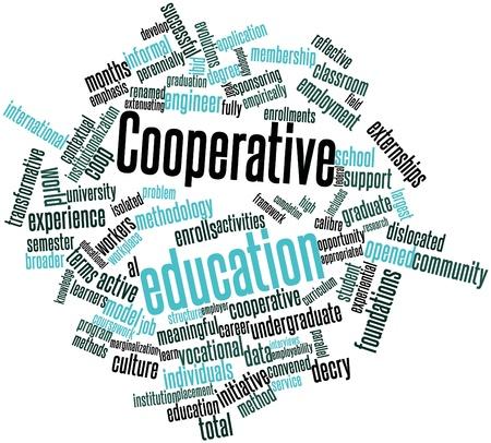 cooperativismo: Nube de palabras abstracto para la educación cooperativa con las etiquetas y términos relacionados Foto de archivo