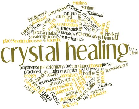 warned: Abstract word cloud for Crystal healing with related tags and terms