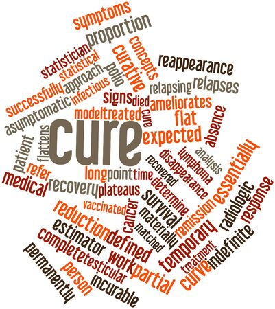 testicular cancer: Abstract word cloud for Cure with related tags and terms Stock Photo
