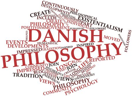 humanistic: Abstract word cloud for Danish philosophy with related tags and terms
