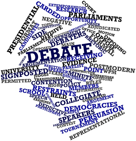 Abstract word cloud for Debate with related tags and terms Stock Photo
