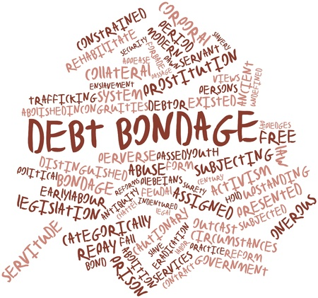 sirvientes: Nube palabra abstracta para Servidumbre por deudas con las etiquetas y términos relacionados Foto de archivo